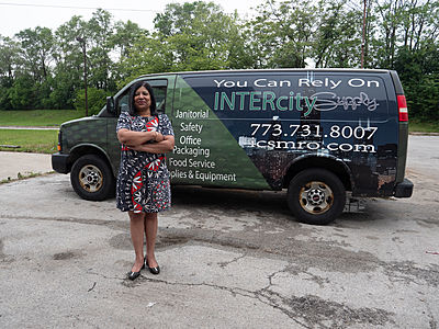 Jackie Dyess with Inter-City van