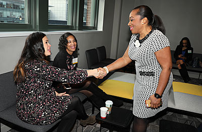 Nadia Quarles greets women business owners