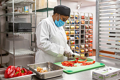 food workers meal prep